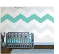 Chevron Four Wall Mural The HOT TREND is Chevron Stripes for that hip contemporary look. In our example of the mural we feature FOUR stripes in a turquoise to match the bedding, but it's up to YOU to