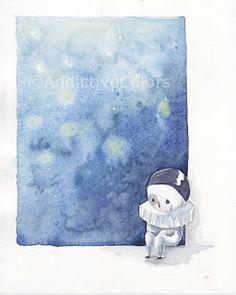 """Mascherina triste"" - da Tre stelle e un vestitino  #ChildrenIllustration #Illustration"