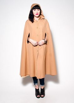Vintage Tan Cape with Hood by rumors on Etsy