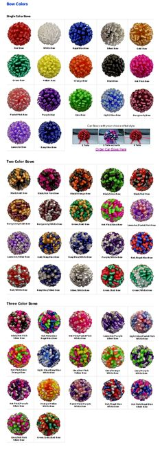Plenty of colors and color combinations for car bows.