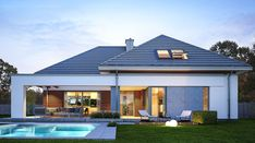 Hiacynt - zdjęcie 5 Small House Design, Cool House Designs, Modern House Design, Modern Family House, Modern Bungalow House, House Plans Mansion, Dream House Plans, House Layout Plans, House Layouts
