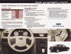 ford five hundred 2005 interior