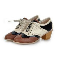 Retro Womens Cuban Chunky Heel Mary Jane Lace-Up Wingtip Oxford Shoes Plus Size