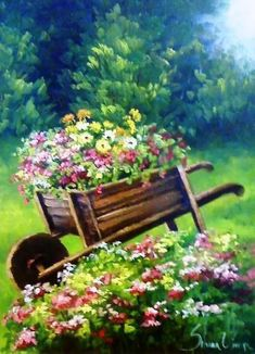 Gardens: wheelbarrow filled with Silvana Oliveira. Landscape Art, Landscape Paintings, Watercolor Flowers, Watercolor Paintings, Flower Pictures, Whimsical Art, Pictures To Paint, Painting Inspiration, Garden Art