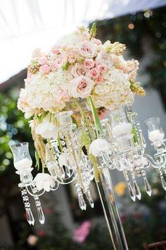 wedding centerpiece ideas white, crystals, pink www.atmospheresfloral.com