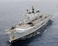 HMS Illustrious is pictured during Exercise Cougar 12 in the Mediterranean Sea.