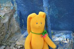 Rabbit Stuffed toy OOAK Yellow bunny Soft by MiracleFromThreads