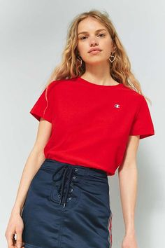 Slide View: 1: Champion Red Small Logo T-Shirt