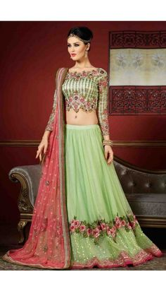 Green Net Lehenga With Art Silk Choli - DMV10135
