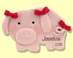 This Little PIGGY Handmade POLYMER CLAY Personalized Christmas Ornament Hand Painted