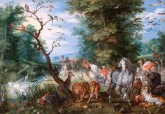 """""""Entry of Animals into the Ark"""" by Jan Brueghel the Elder. Where to see this painting? English Heritage, The Wellington Collection, Apsley House 149 Piccadilly Hyde Park Corner, London, Greater London, England, W1J 7NT"""