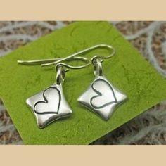 Heart Full Of Love Sterling Silver Earrings.  Handcast in the USA.  $38.50