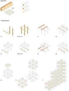 Components of the Chidori system by Kengo Kuma + Associates. Drawing by Kengo Kuma + Associates