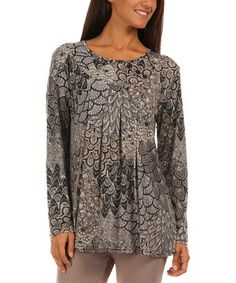 Look what I found on #zulily! Gray Abstract Pleated Tunic - Plus Too #zulilyfinds