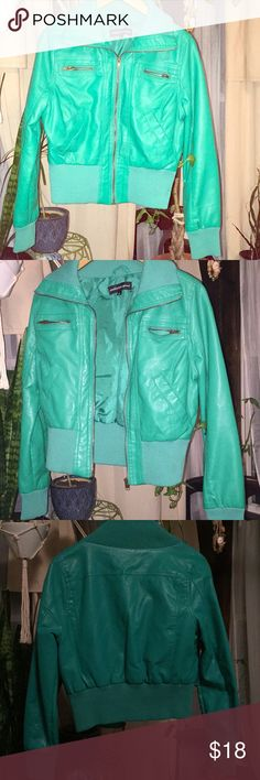 Kelly Green Faux Leather Bomber Jacket 🍀 Kelly Green Faux Leather Bomber Jacket (L). Two zippered pockets on front, two hand pockets. Ribbed pop up collar, wristbands, and waistband. Like new condition. 🍀🍀 Ambiance Jackets & Coats