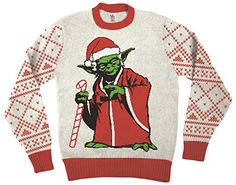Star Wars Jedi Yoda Dressed As Santa Off-White Ugly Christmas Sweater (Adult Medium) Star Wars http://www.amazon.com/dp/B016J35BRS/ref=cm_sw_r_pi_dp_rQkswb0RENJJP