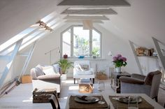 Atmospheric and spacious living/dining attic space in a  wooden house built in 1881 in Hanko, Finland. | Oikotie
