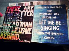 DIY Quotes on Canvas. Left: Magazine clippings and sharpie. Right: Sheet music and paint