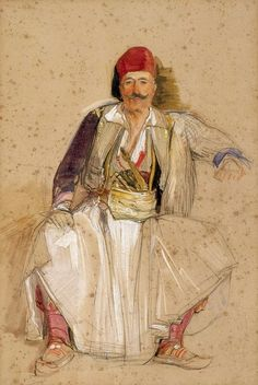 John Frederick Lewis, A Corfiote Warrior, Seated. In July 1840 Lewis travelled to Constantinople via. Albanian Culture, Indianapolis Museum, Abstract Face Art, Art Through The Ages, Academic Art, Mystery Of History, Oil Portrait, Greek Art, Art Station