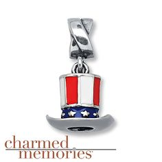 Charmed Memories Patriotic Hat Charm Sterling Silver Stock number: 811436308 A top hat charm decorated in red, white and blue enamel would make a star-spangled addition to her Charmed Memories® bracelet. The dangle charm is fashioned in sterling silver. $54.99