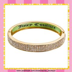 "Juicy Couture Crystal Gold Tone Bangle Bracelet HPNWT Juicy Couture dazzling simulated clear crystal gold tone bangle bracelet will glamourize any look!  *Length 8.25"", ""Juicy Couture"" green interior inlay *Bangles pictured above available in separate listings to purchase & bundle! *Bundle Discounts, Smoke-Free, No Trades Juicy Couture Jewelry Bracelets"