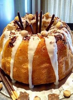 Fluffy hazelnut cake with icing and chocolate ., Food And Drinks, Fluffy hazelnut cake with icing and chocolate ! Greek Desserts, Greek Recipes, Sweet Loaf Recipe, Hazelnut Cake, Piece Of Cakes, Breakfast Time, Caramel Apples, How To Make Cake, Yummy Cakes