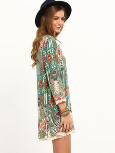 vintage print dress, three quarter sleeve dress, trendy boho dress - Lyfie
