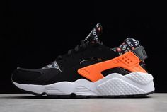"low priced 86ed8 4ac34 Nike Air Huarache Run ""Just Do It"" Black Total Orange-White AT5017-001"