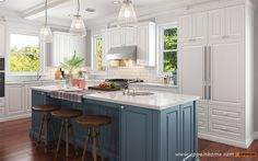 American Style House    White & Blue PVC Panel    Kitchen-2