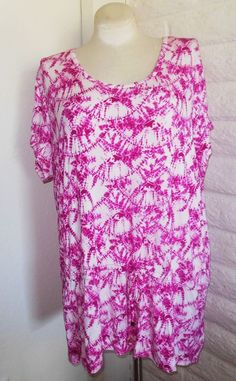 ae986320ff36ac Michael Kors 3X Pink Fuchsia Tie-Dye Drop Waist Cap Sleeve Tunic Top Plus  Size