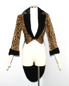 NORMA KAMALI OMO Vintage Leopard Coat Faux Fur Tux by StatedStyle