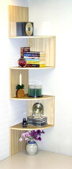 Modern Staggering Corner Shelf in Maple 11 7/8 in. D x 11 7/8 in. W x 53 1/8 in. H