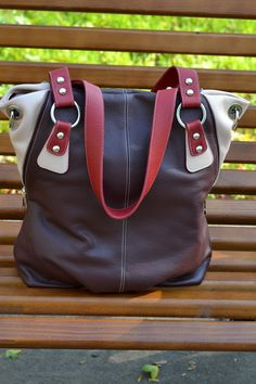 LARGE LEATHER Tote Bag,Leather Hobo Bag,Pebbled Leather Bag,Shopper Bag,I -  Pad,Mac Book Bag,Shoulder Bag, Red - Burgundy Leather Bag.