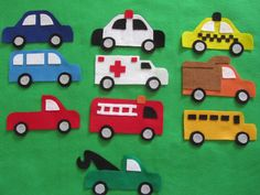This listing is for 5 felt vehicles of your choice which can be used with your felt board (felt board is not included).  Choose any 5 of the following vehicles: -car -van -pick-up truck -police car -ambulance -fire truck -tow truck -taxi -dump truck -school bus  Please indicate which vehicles you would like in the message to seller box at the time of purchase.  *Vehicles will be made using the colours shown in the picture unless otherwise requested by customer at the time of purchase…