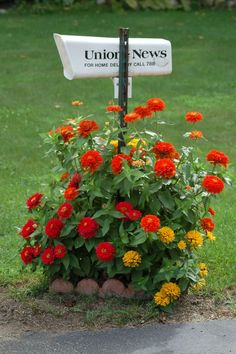 Garden Ideas Around Mailbox mailbox w/flowers. i like this way because i wouldn't be scared