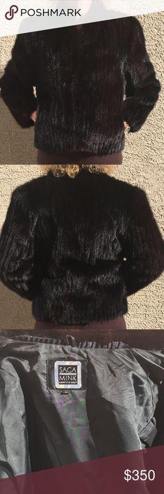 """Saga MINK Jacket SAGA Mink FUR, Ribbed MINK Short Jacket Size L (10) Dark Brown. 2 Pockets. 2 Hook/eye Closure. EXCELLENT pre-loved Condition!!           (Model is size 6-8 and 5'7"""" tall) Saga Mink  Jackets & Coats"""