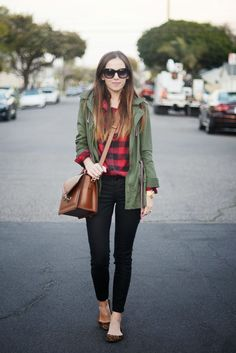 (summer/fall) olive green jacket, red plaid shirt, black pants, leopard-print flats, cognac bag from Merricks Art
