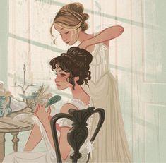 Pride and Prejudice- Elizabeth and Jane artwork Pretty Art, Cute Art, Art Mignon, Fanart, Art Et Illustration, Animal Illustrations, Character Illustration, Animation, Art Inspo
