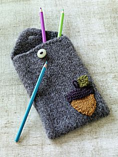 Felted Acorn Pencil Case from Lion Brand Yarns...I want one for my briefcase!
