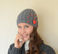 Hand knit grey hat  with hearts winter hat girl hats by bstyle, $22.00
