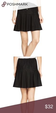 "White House Black Market Black Skirt Sits at the waist. Functional drawstring at front with elasticized waistband at back. Flirty flared hem with placed panels. 55% linen, 45% rayon. Machine wash. Imported. Approximately 19"" center back length. White House Black Market Skirts"