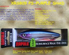 RAPALA XRSB-9 SUB WALK FISHING LURE WITH WALK THE DOG / SUB-SURFACE http://fishingbaitslures.com/products/rapala-xrsb-9-sub-walk-fishing-lure-with-walk-the-dog-sub-surface