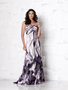 Cameron Blake 113615A. Strapless A-line burnout dress with softly curved neckline, chevron ruched empire bodice and sweep train. Matching shawl and removable straps included. Also available in solid chiffon in Lilac and Purple as 113615B. #timelesstreasure