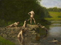 """Thomas Eakins painitng """"Swimming"""" from 1885 was one of the last paintings JFK saw.  It was in a special exhibition for the Kennedy's at their hotel in dallas.  That exhibition is being reunited for the 50th anniversary of his assassination. Art Exhibition for JFK"""