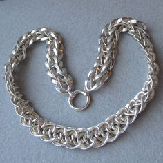 Wide Vintage Sterling Silver Chain Dog Collar Necklace