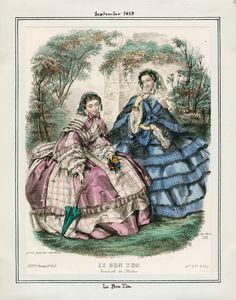 In the Swan's Shadow: Le Bon Ton, September 1858.  Civil War Era Fashion Plate