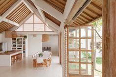 Bali Style Home, Tropical House Design, Minimal House Design, Kitchen Design Gallery, Bali House, Bamboo House, Mediterranean Design, Villa Design, Travertine