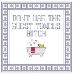 Funny Cross Stitch Pattern Bathroom Decor by PlatoSquirrelPattern