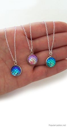 Colorful mermaid necklaces