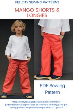 Kids pants and shorts PDF sewing pattern by FELICITY SEWING PATTERNS. Sizes 2 to 12 years.